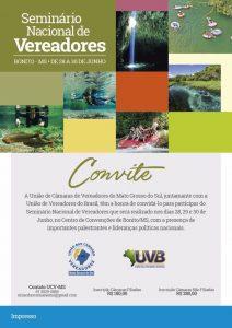 Seminário de Vereadores em Bonito/MS, de 28 a 30/06, realização UCVMS