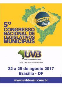Veja a programação do 5° Congresso Nacional de Legislativos Municipais