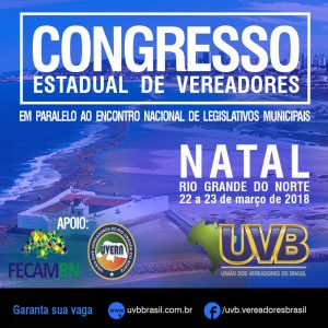 Congresso de Vereadores em Natal dias 22 e 23 de março
