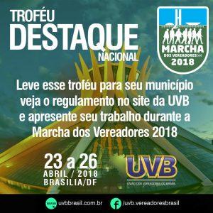 Troféu Destaque será entregue na Marcha dos Vereadores