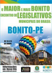 13 a 15 de junho Encontro Nacional de Legislativos em Bonito/PE