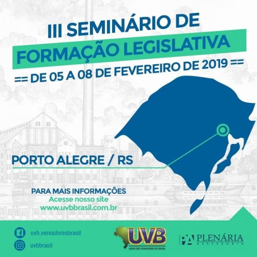 Formação Legislativa – 05 a 08 de fevereiro – Porto Alegre/RS