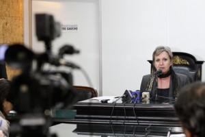Dra. Elaine Macedo, primeira mulher a presidir o TRE-RS, no Fórum da Mulher