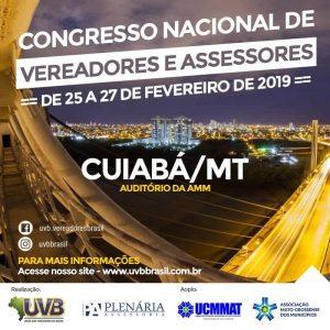 União dos Vereadores do Brasil realizará congresso nacional em Cuiabá