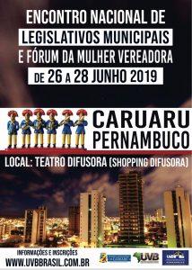 Inicia hoje o Encontro Nacional de Legislativos Municipais e Fórum da Mulher Vereadora, Caruaru-PE sediará evento nacional para debater políticas.