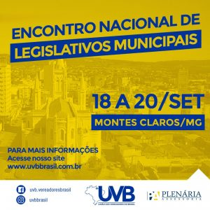 Encontro Nacional de Legislativos Municipais de 18 a 20 de Setembro em Montes Claros-MG