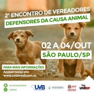 São Paulo sediará 2º Encontro de Vereadores Defensores da Causa Animal que inicia hoje (02) até 04 de outubro