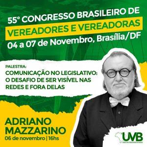 O jornalista Adriano Mazzarino debaterá o tema Comunicação e Redes Sociais.