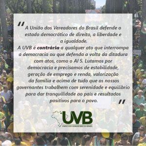 A UVB defende o estado democrático de direito, a liberdade e a igualdade