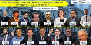 Confira os palestrantes confirmados no Encontro Nacional de Legislativos em Recife-PE de 11 a 13 de março.