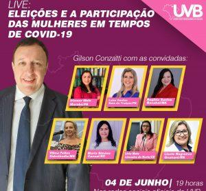 Presidente da UVB realizará live com convidadas nesta quinta feira 04/06