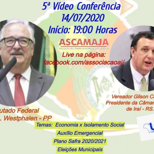 ASCAMAJA realizará live com a participação do Vereador Gilson Conzatti e Deputado Federal