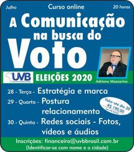 UVB lança curso Comunicação na busca do voto-Eleições 2020