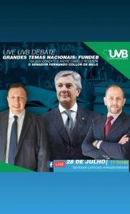 UVB promove live com o Senador Fernando Collor para debater temas nacionais