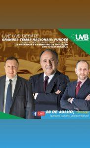 UVB realizará live para debater temas nacionais