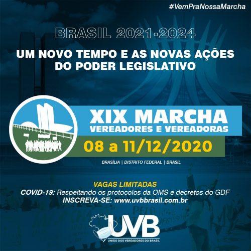 Confira  a programação da XIX Marcha dos Vereadores e Vereadoras de 08 a 11 de dezembro