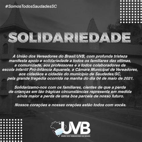 UVB se solidariza com os familiares das vítimas da tragédia acontecida  em Saudades/SC